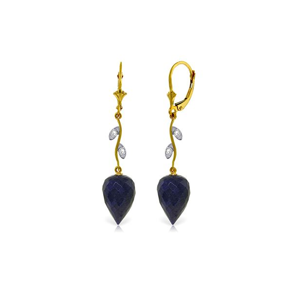 Genuine 25.72 ctw Sapphire & Diamond Earrings 14KT Yellow Gold - REF-53M4T