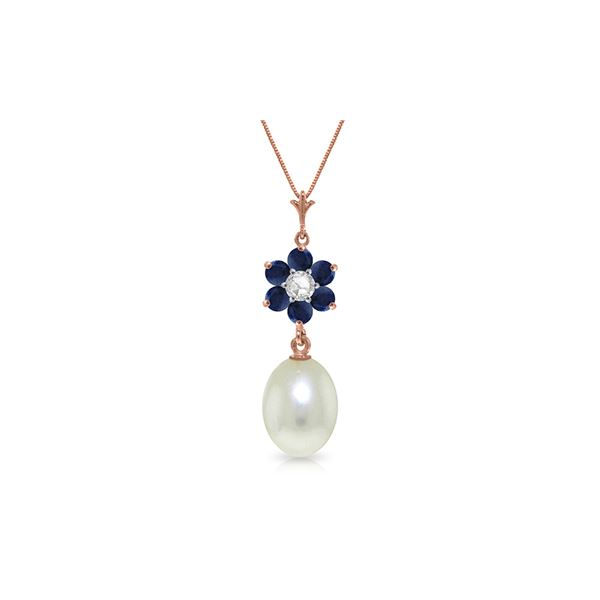 Genuine 4.53 ctw Pearl, Sapphire & Diamond Necklace 14KT Rose Gold - REF-30M9T