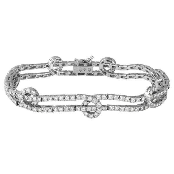 Natural 4.31 CTW Diamond Bracelet 18K White Gold - REF-566T3X