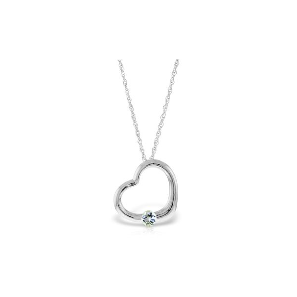 Genuine 0.25 ctw Aquamarine Necklace 14KT White Gold - REF-29T3A