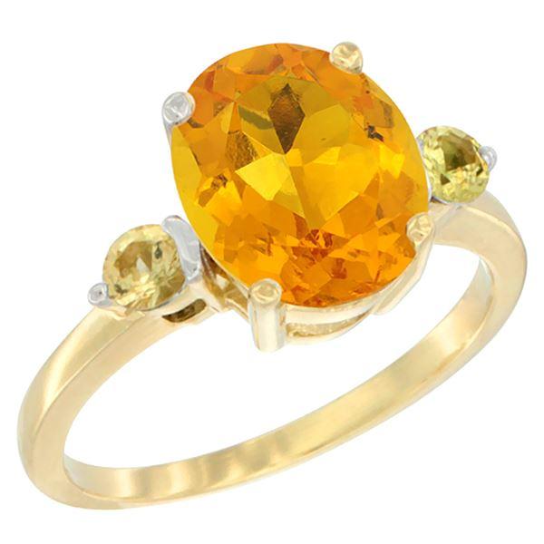 2.64 CTW Citrine & Yellow Sapphire Ring 10K Yellow Gold - REF-24A5X