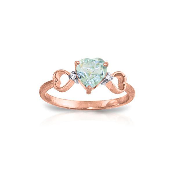 Genuine 0.96 ctw Aquamarine & Diamond Ring 14KT Rose Gold - REF-44N3R