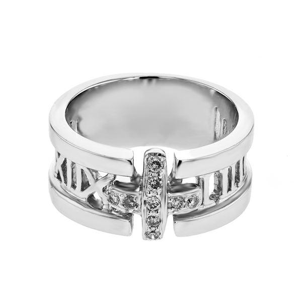Natural 0.14 CTW Diamond Ring 18K White Gold - REF-104F4M