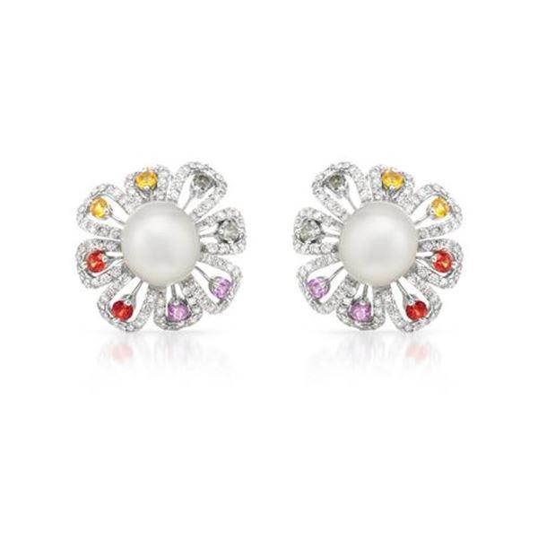 Natural 25.5 CTW Pearl & Diamond Earrings 14K White Gold - REF-314N3Y
