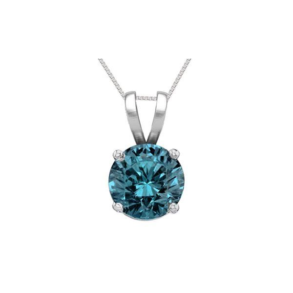 14K White Gold 1.02 ct Blue Diamond Solitaire Necklace - REF-186W8Z