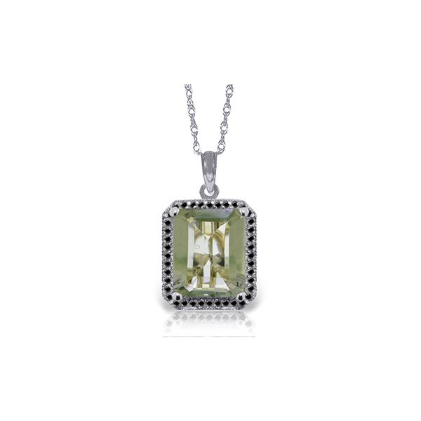 Genuine 5.55 ctw Green Amethyst & Black Diamond Necklace 14KT White Gold - REF-68X4M