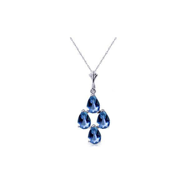 Genuine 1.50 ctw Blue Topaz Necklace 14KT White Gold - REF-20P4H