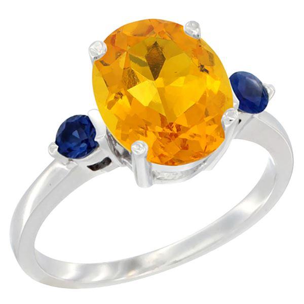 2.64 CTW Citrine & Blue Sapphire Ring 14K White Gold - REF-32V3R