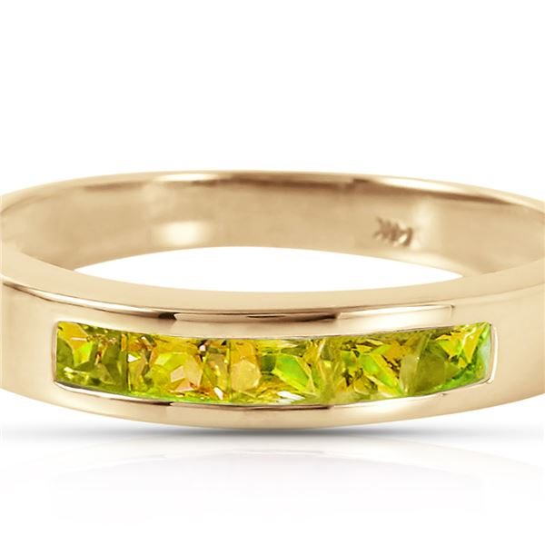 Genuine 0.60 ctw Peridot Ring 14KT Yellow Gold - REF-46N2R