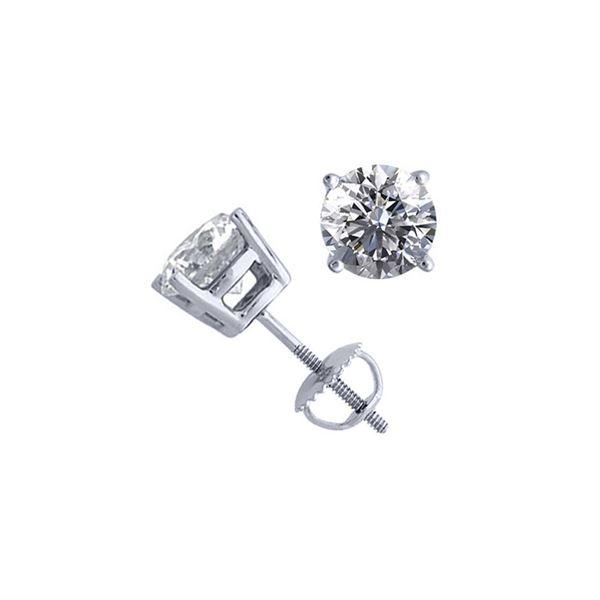 14K White Gold 2.06 ctw Natural Diamond Stud Earrings - REF-521H4F