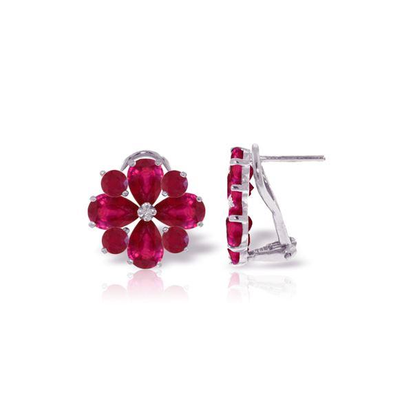 Genuine 4.85 ctw Ruby Earrings 14KT White Gold - REF-71X8M
