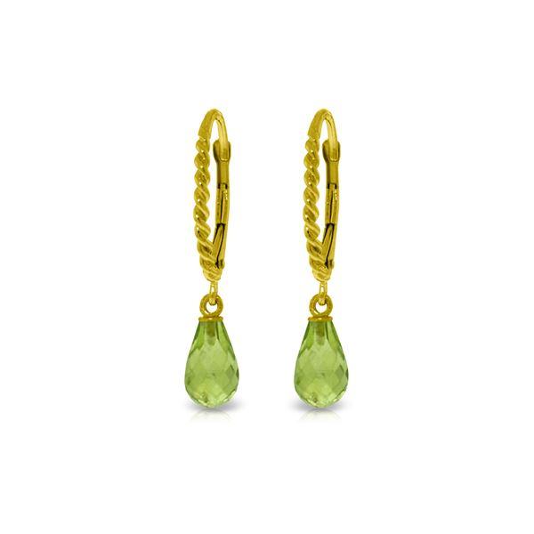Genuine 3 ctw Peridot Earrings 14KT Yellow Gold - REF-24M3T
