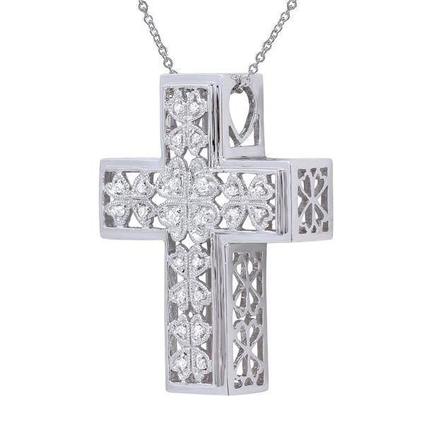 Natural 0.13 CTW Diamond Necklace 18K White Gold - REF-90K2R