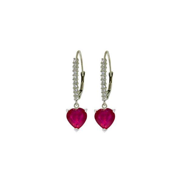 Genuine 3.2 ctw Ruby & Diamond Earrings 14KT White Gold - REF-72K3V