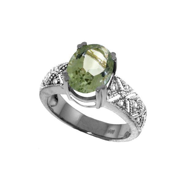Genuine 3.2 ctw Green Amethyst & Diamond Ring 14KT White Gold - REF-95H7X