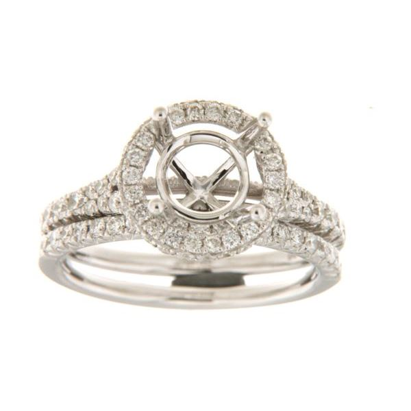 Natural 0.88 CTW Diamond & Wedding Ring Set 14K White Gold - REF-150N3Y