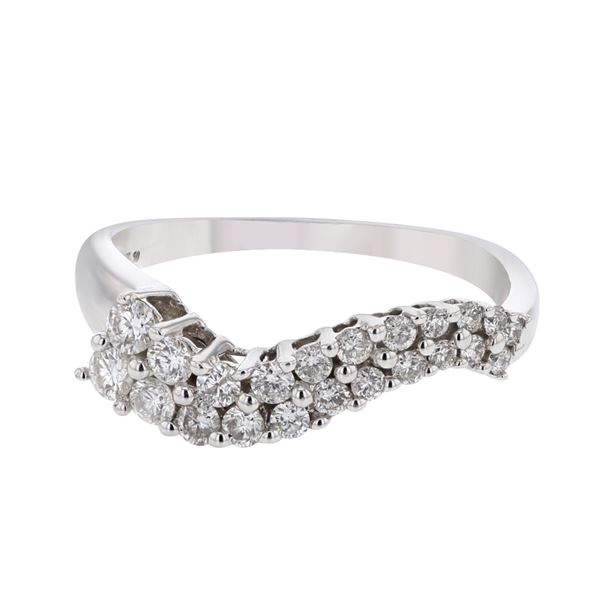 Natural 0.50 CTW Diamond Ring 14K White Gold - REF-54T9X