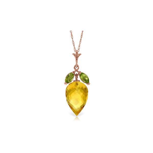 Genuine 10 ctw Citrine & Peridot Necklace 14KT Rose Gold - REF-28W9Y