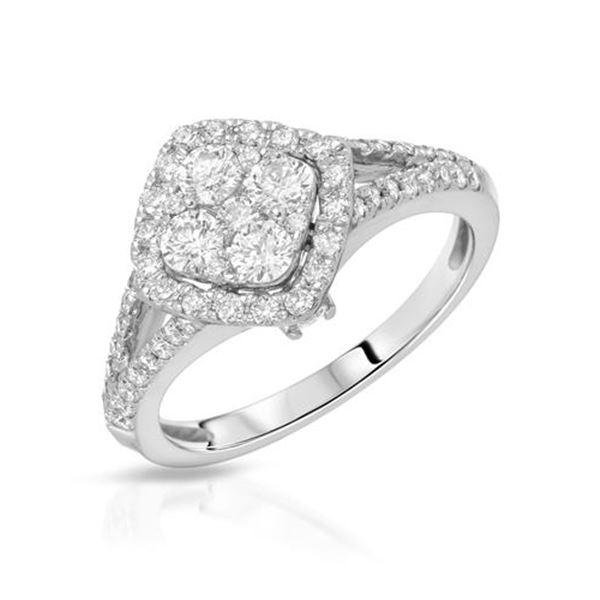 Natural 0.94 CTW Diamond Ring 14K White Gold - REF-144T9X