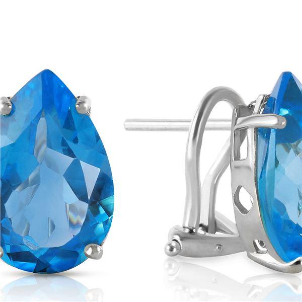 Genuine 10 ctw Blue Topaz Earrings 14KT White Gold - REF-50T7A