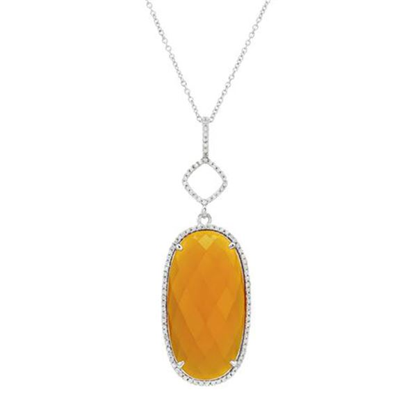Natural 11.67 CTW Agate & Diamond Necklace 14K White Gold - REF-42K3R