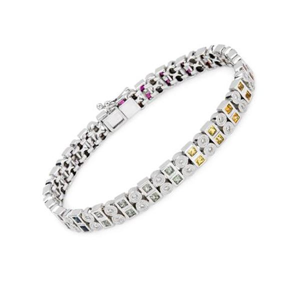 Natural 4.87 CTW Multi-Sapphire & Diamond Bracelet 14K White Gold - REF-288T2X