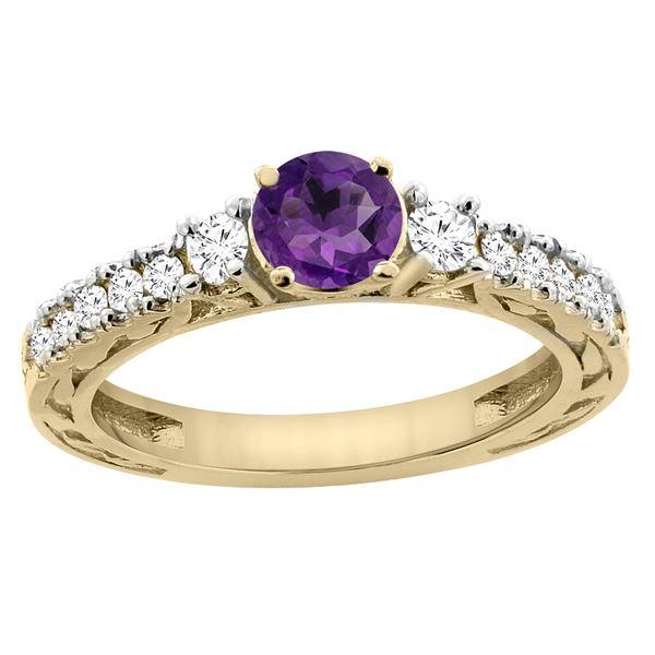 1.10 CTW Amethyst & Diamond Ring 14K Yellow Gold - REF-79K3W