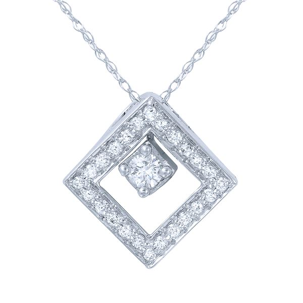 Natural 0.25 CTW Diamond Necklace 14K White Gold - REF-40N5Y