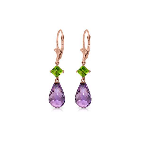 Genuine 11 ctw Amethyst & Peridot Earrings 14KT Rose Gold - REF-39Y3F