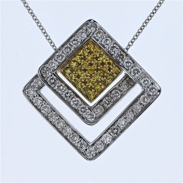 Natural 1.43 CTW Tsavorite & Diamond Necklace 14K Two Tone Yellow Gold - REF-108N2Y