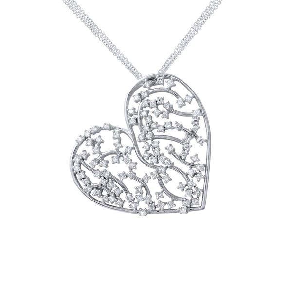 Natural 1.32 CTW Diamond Necklace 18K White Gold - REF-246T6X