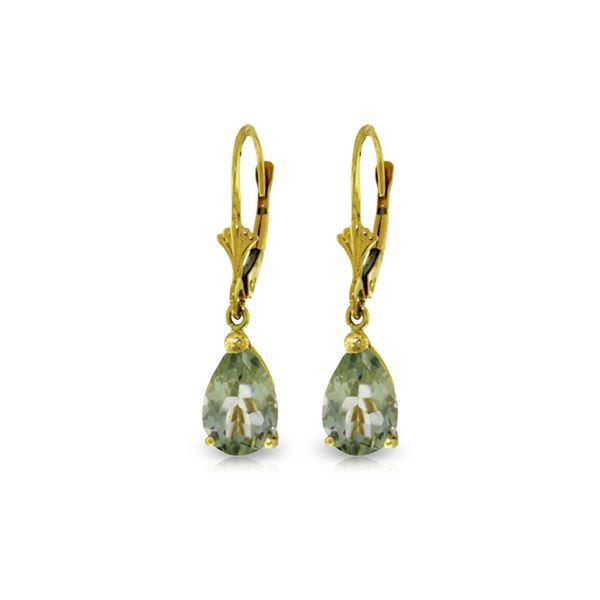 Genuine 2.5 ctw Green Amethyst Earrings 14KT Yellow Gold - REF-28K8V