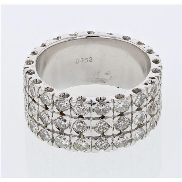 Natural 3.52 CTW Diamond Ring 18K White Gold - REF-459K2R
