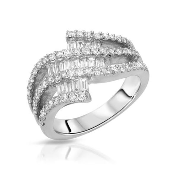 Natural 1.09 CTW Diamond & Baguette Ring 18K White Gold - REF-173N7Y