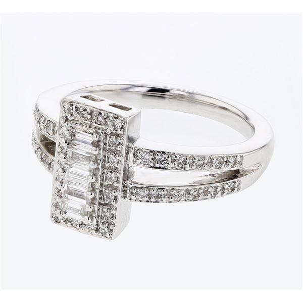 Natural 0.46 CTW Baguette & Diamond Ring 14K White Gold - REF-93W6H