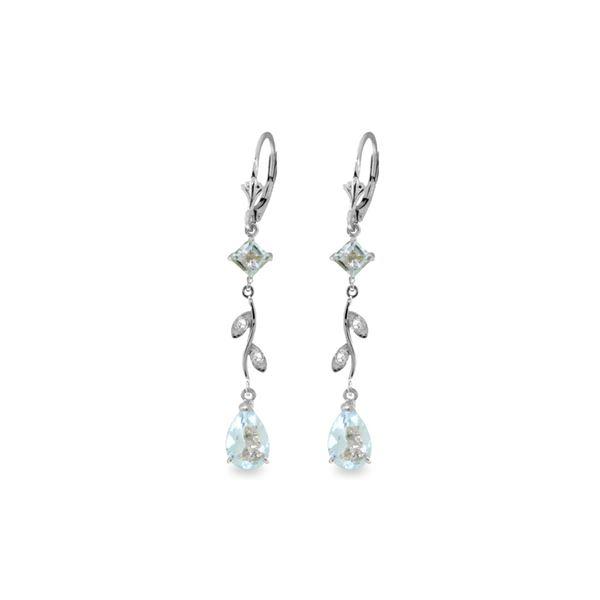 Genuine 3.97 ctw Aquamarine & Diamond Earrings 14KT White Gold - REF-56M4T
