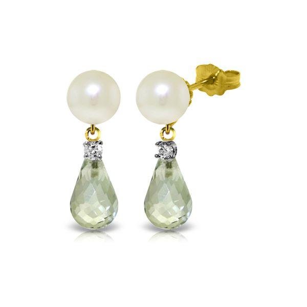 Genuine 6.6 ctw Green Amethyst, Pearl & Diamond Earrings 14KT Yellow Gold - REF-27Y6F