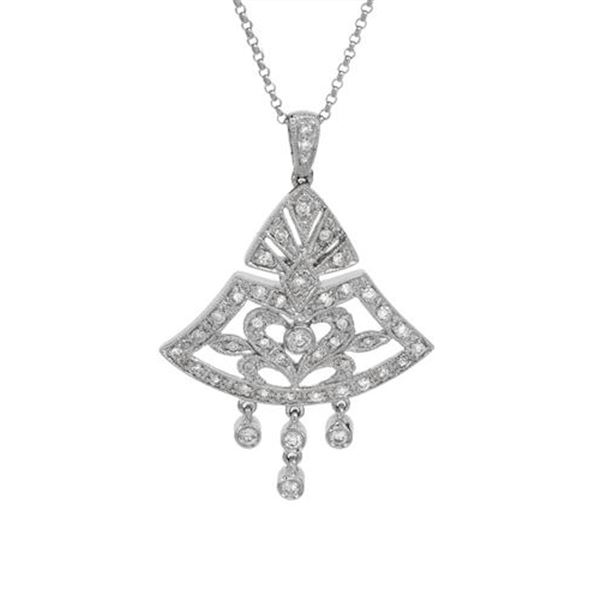 Natural 0.65 CTW Diamond Necklace 18K White Gold - REF-113W4H
