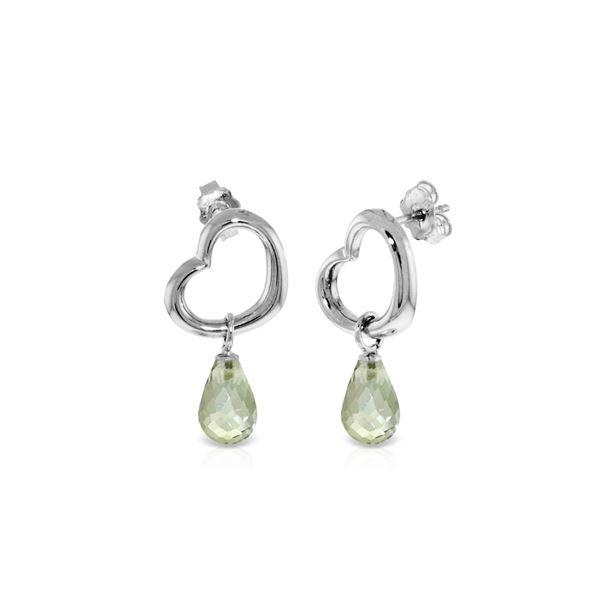Genuine 4.5 ctw Green Amethyst Earrings 14KT White Gold - REF-42V6W