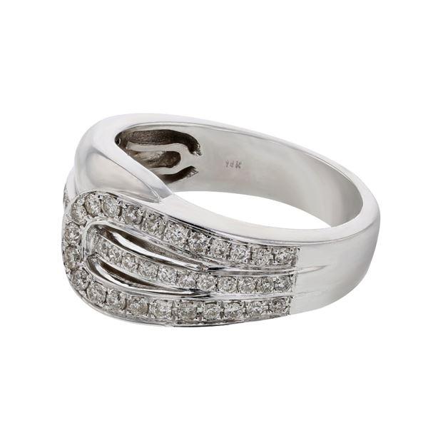 Natural 0.43 CTW Diamond Ring 14K White Gold - REF-78F3M