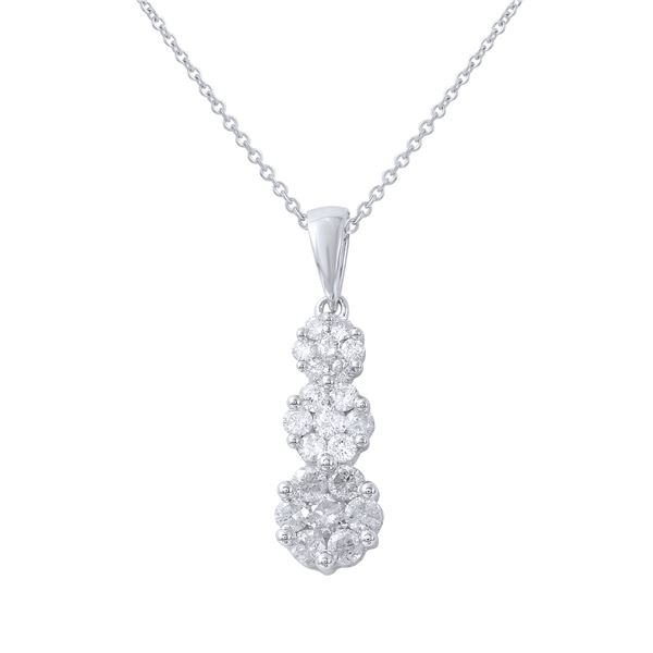 Natural 0.50 CTW Diamond Necklace 14K White Gold - REF-63W2H