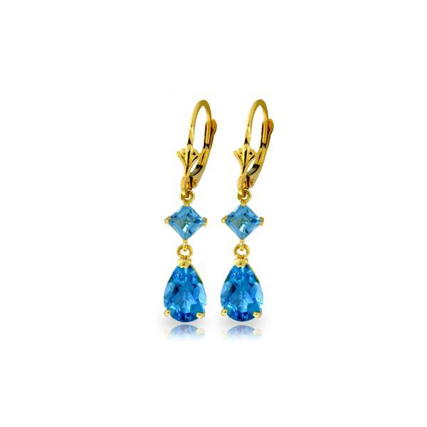 Genuine 4.5 ctw Blue Topaz Earrings 14KT Yellow Gold - REF-41T4A