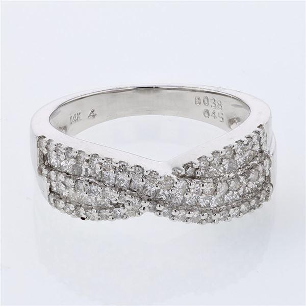 Natural 0.83 CTW Princess Diamond Ring W=6MM 14K Gold - REF-124K2R