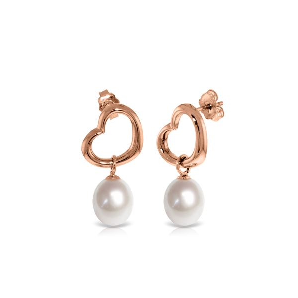 Genuine 8 ctw Pearl Earrings 14KT Rose Gold - REF-39T4A