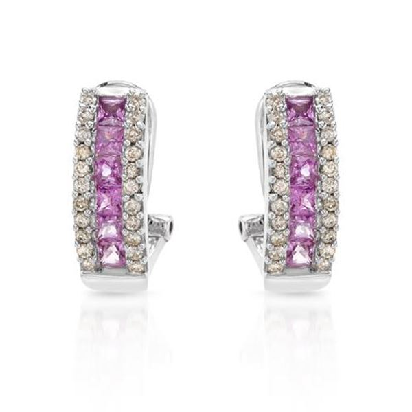 Natural 1.66 CTW Pink Sapphire & Diamond Earrings 14K White Gold - REF-80W3H
