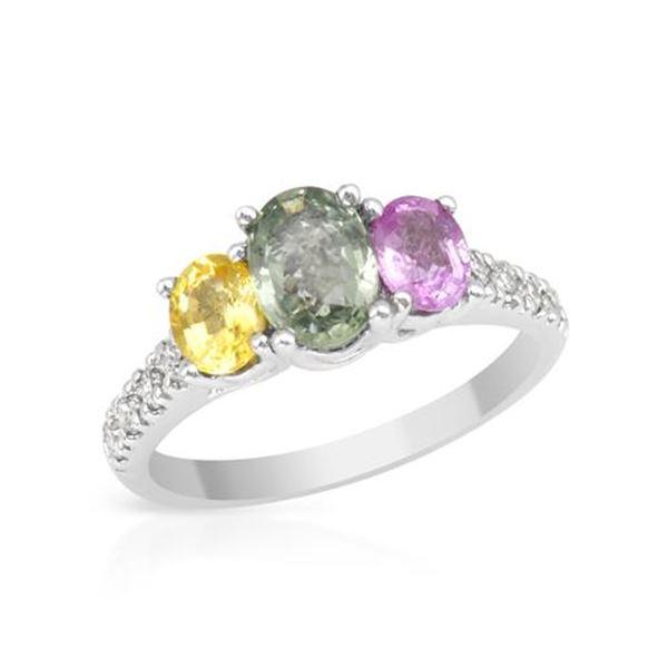 Natural 2.16 CTW Multi-Sapphire & Diamond Ring 14K White Gold - REF-65K7R