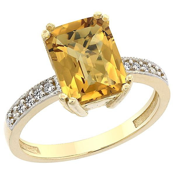 3.70 CTW Quartz & Diamond Ring 10K Yellow Gold - REF-31M3K