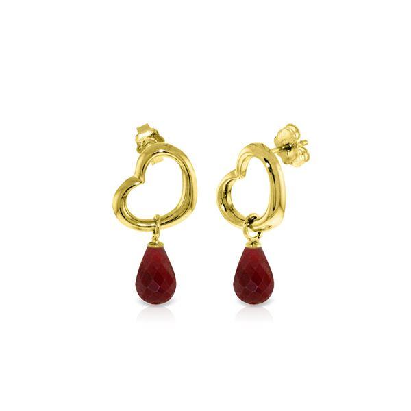 Genuine 6.6 ctw Ruby Earrings 14KT Yellow Gold - REF-47A2K