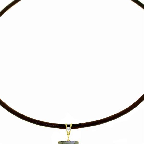 Genuine 6.51 ctw Green Amethyst & Diamond Necklace 14KT White Gold - REF-31A6K