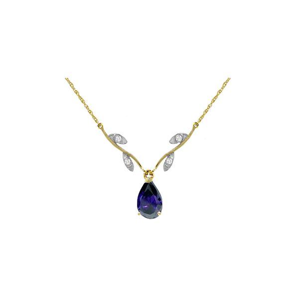 Genuine 1.52 ctw Sapphire & Diamond Necklace 14KT Yellow Gold - REF-35R9P